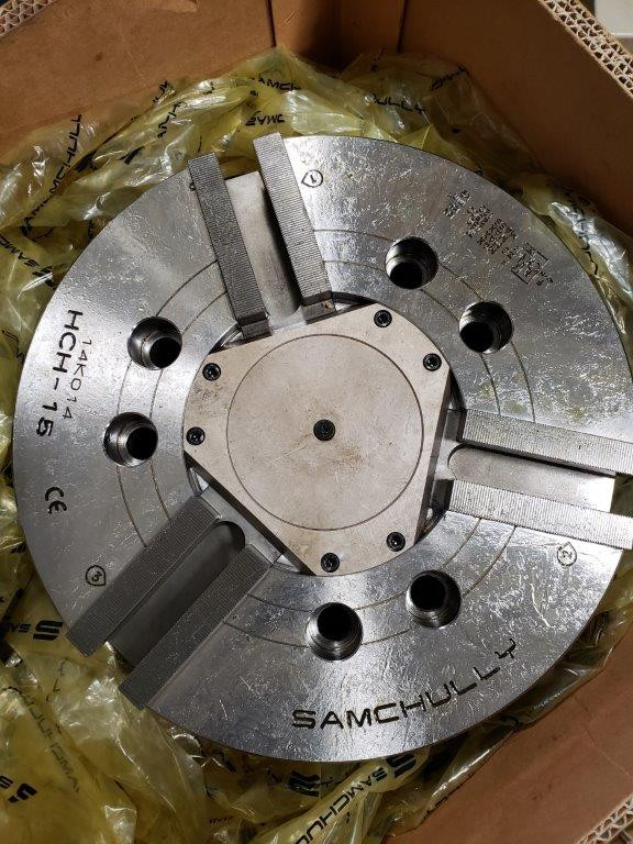 15 IN Brand New Samchully HCH-15 Standard 3-Jaw Open-Center Chuck